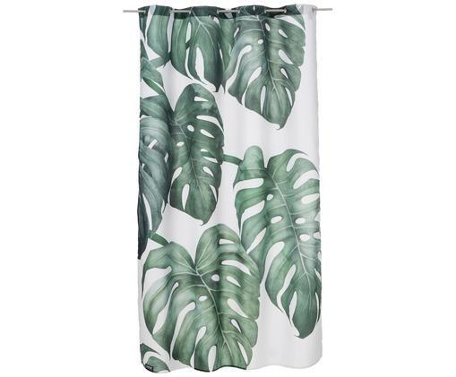 Rideau de douche Tropical nº 6, Blanc, vert