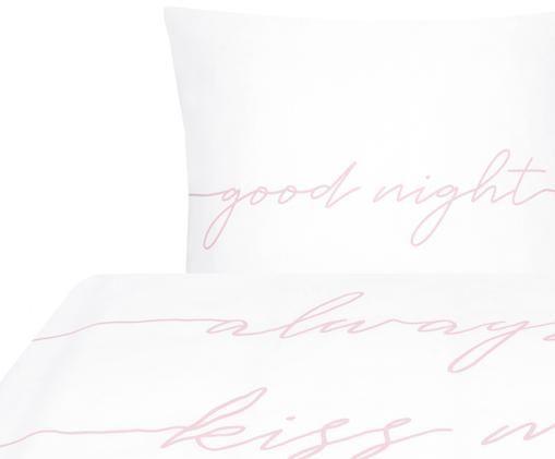 Pościel z perkalu Writings, Biały, blady różowy