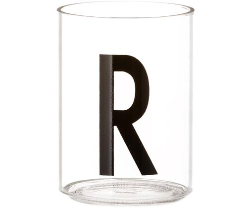 Vasos de agua Personal con letra (variantes de A a Z), Transparente, negro