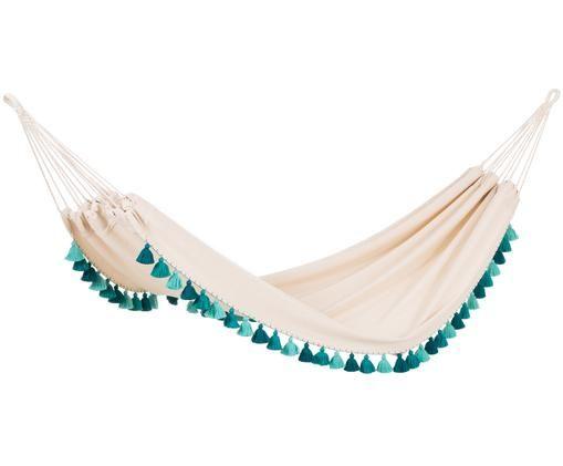 Ręcznie tkany hamak Tones, Odcienie kremowego, odcienie turkusowego