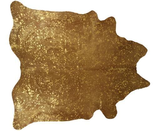 Alfombra de piel bovina Metallic, Marrón, dorado