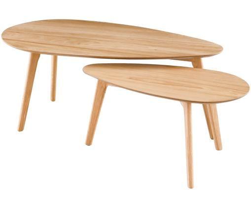 Komplet stolików kawowych Bloom, 2 elem., Drewno dębowe