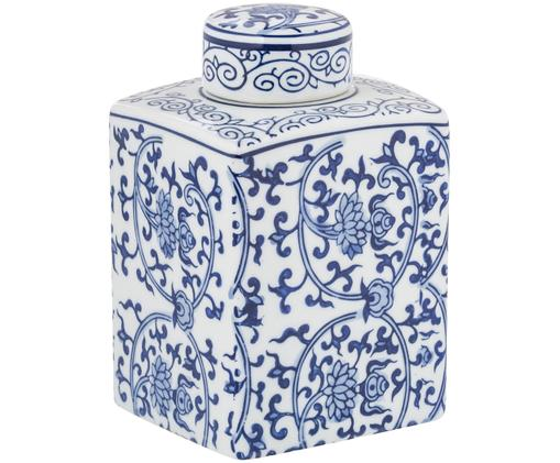 Vaas met deksel Ella, Blauw, wit