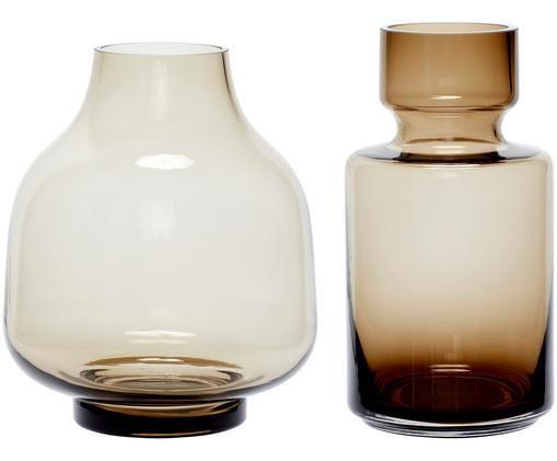 Vasen-Set Mary aus Glas, 2-tlg., Hellbraun, transparent