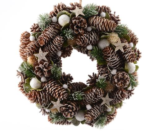 Corona decorativa Special, Natural, verde, blanco