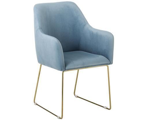 Sedia con braccioli in velluto Isla, Rivestimento: azzurro Gambe: dorato lucido