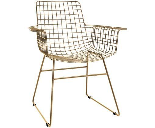 Design-Armlehnstuhl Wire aus Metall, Messingfarben