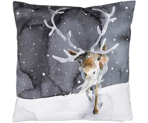 Kissen Rae mit winterlichem Motiv, mit Inlett, Vorderseite: Grau, Weiß, Beigetöne  Rückseite: Weiß