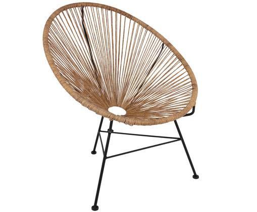 Loungefauteuil Bahia uit kunstvlechtwerk, Zitvlak: beige. Frame: zwart