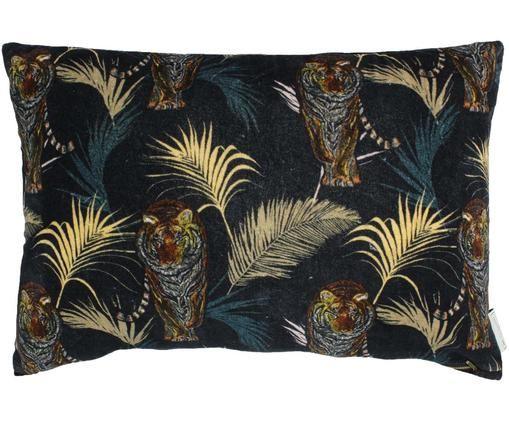 Cojín de terciopelo Tropical Tiger, con relleno, Negro, multicolor