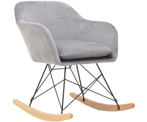 Fluwelen schommelstoel Lora met fijn gewatteerde patroon, Grijs, zwart, rubberhoutkleurig