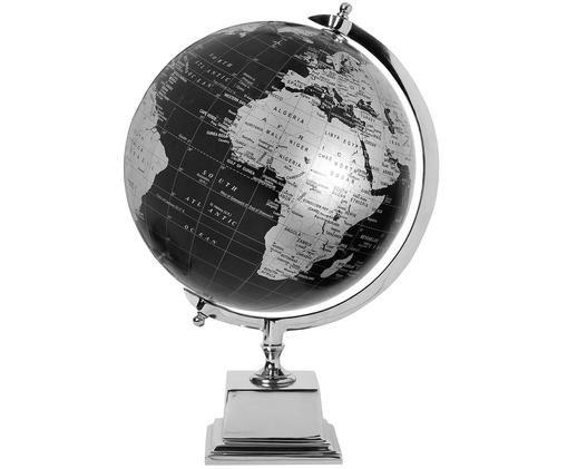 Decoratieve wereldbol Alun, Zwart, zilverkleurig