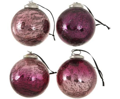 Weihnachtskugel-Set Emilia, 4-tlg., Rosatöne, Lila