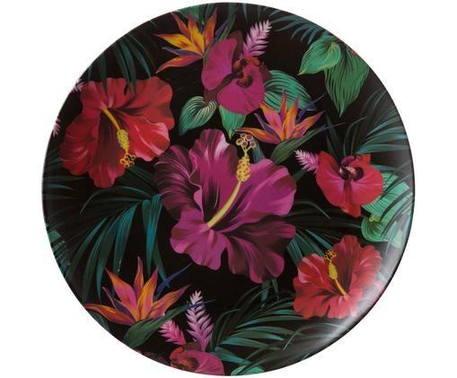 Piatto piano in bambù Tropical Flower, Verde, color fucsia, rosso, bianco