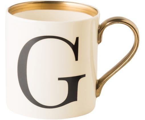 Tasse G, Beige, Schwarz, Gold