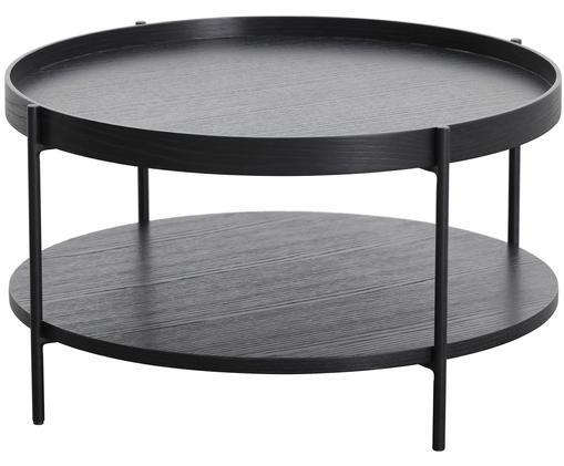 Mesa de centro con estante Renee, Tablero: negro Estructura: negro mate