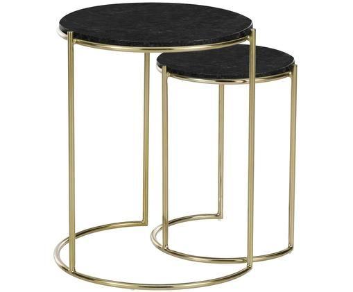 Set tavolini in marmo Ella, Piani d'appoggio: marmo nero Struttura: dorato opaco