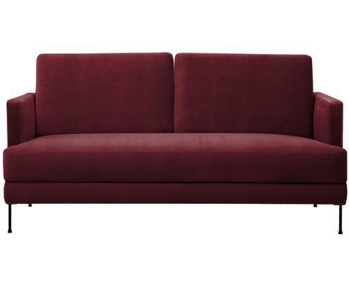Samt-Sofa Fluente (2-Sitzer), Burgunderrot