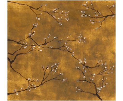 Adesivo murale Chinese Spring, Giallo- e brunastro, bianco, nero