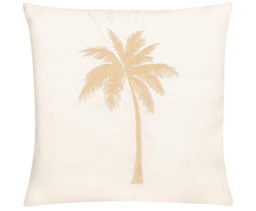 Federa arredo in velluto lucido Palmsprings, Bianco crema, dorato