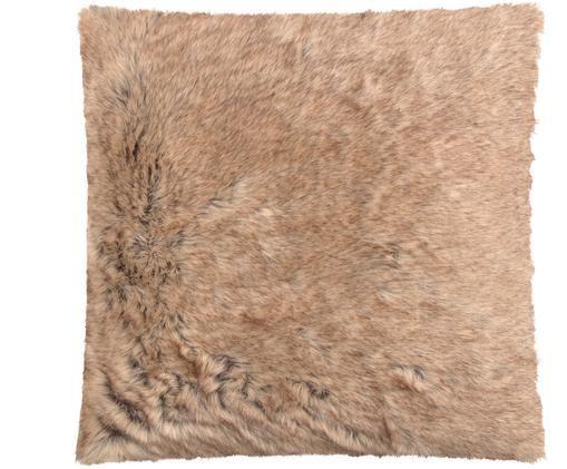 Kunstfell-Kissenhülle Skins in Hellbraun, Vorderseite: Hellbraun Rückseite: Beige