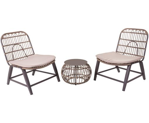 Outdoor-Lounge-Set Ariki, 3-tlg., Taupe, Anthrazit