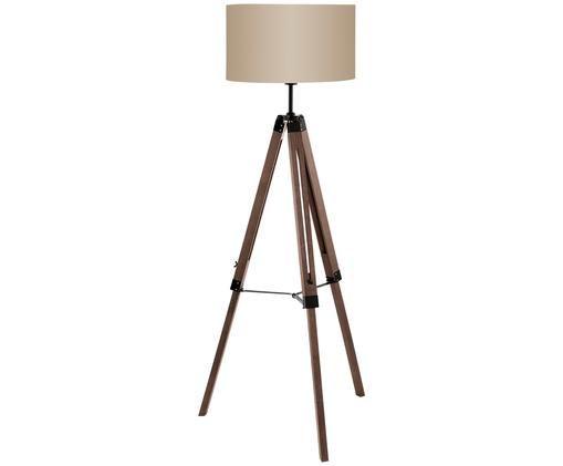 Lámpara de pie en madera Matilda, Base de la lámpara: nogal, negro Pantalla: gris pardo