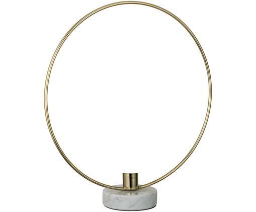 Kerzenhalter Ring, Goldfarben, Weiß