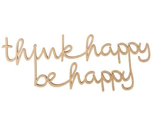 Dekoracja ścienna Think happy be happy, Odcienie złotego