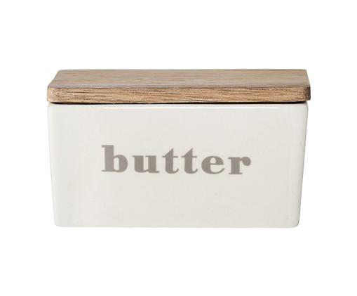 Butterdose Bamboo, Dose: Gebrochenes Weiß, Beige Deckel: Bambus