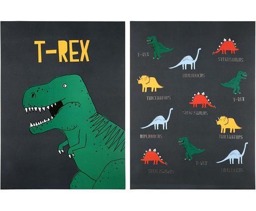 Sada plakátů Dinosaur, 2 díly, Zelená, šedá, žlutá, červená, modrá