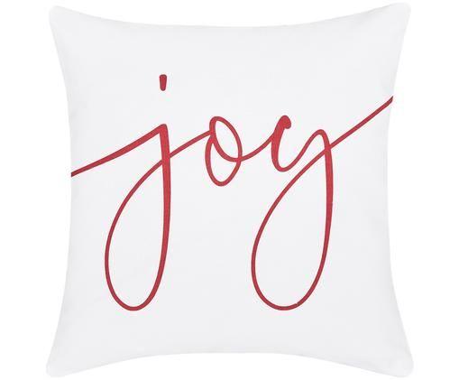 Kissenhülle Joy mit Schriftzug in Weiß-Rot, Weiß, Rot
