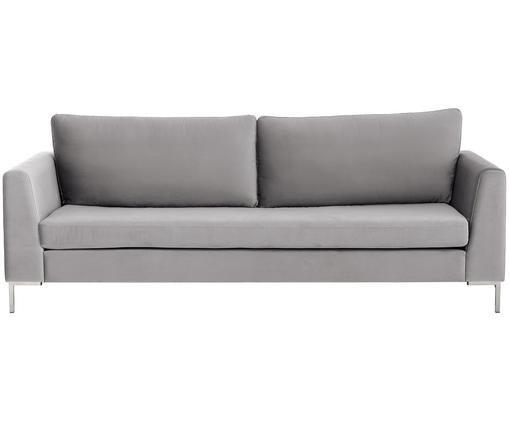 Samt-Sofa Luna (3-Sitzer), Beigegrau