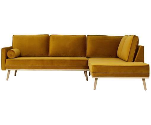 Canapé d'angle en velours Saint (3places), Ocre