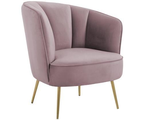 Fotel z aksamitu Louise, Tapicerka: blady różowy  Nogi: odcienie złotego, błyszczący szczotkowany