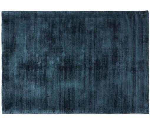 Alfombra artesanal de viscosa Jane, Azul petróleo