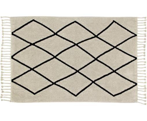 Waschbarer Teppich Bereber, Beige, Schwarz