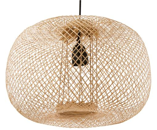 Lampa wisząca z drewna bambusowego Bamboo, Klosz: drewno bambusowe Osłona mocowania sufitowego: czarny