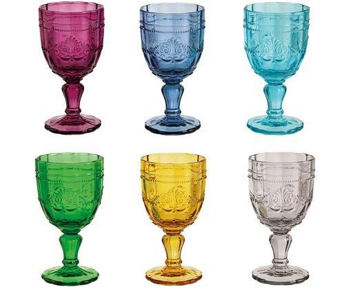 Weingläser Syrah in Bunt und mit Strukturmuster, 6er-Set, Pink, Blau, Türkis, Grün, Gelb, Grau