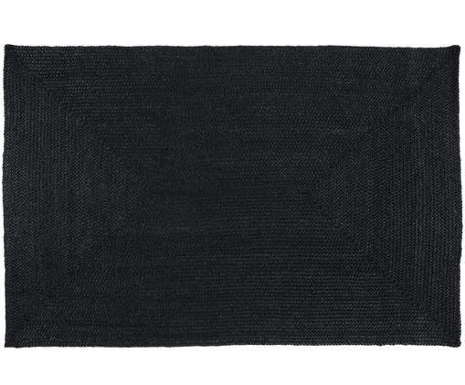 Handgefertigter Juteteppich Sheela in Schwarz, Schwarz