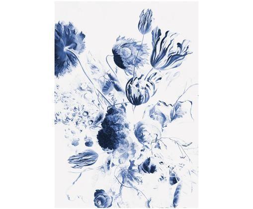 Adesivo murale Royal blue Flowers, Blu, bianco opaco