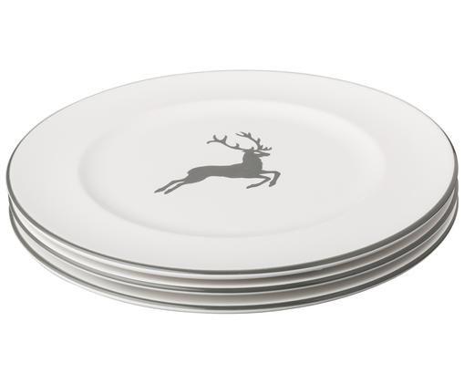 Dinerbord Gourmet Grijze Hert, Grijs, wit