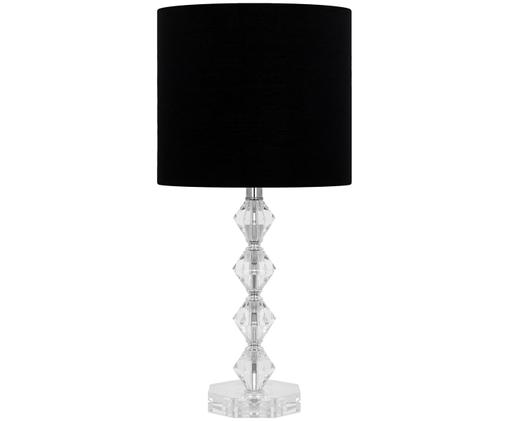 Tafellamp Diamond, Lampenkap: zwart. Lampvoet: transparant. Snoer: zwart