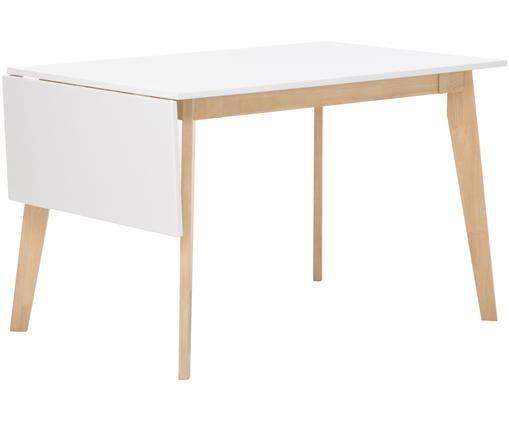 Verlängerbarer Esstisch Nordkap im Skandi Design, Tischplatte: Weiß Beine: Gummibaumholz