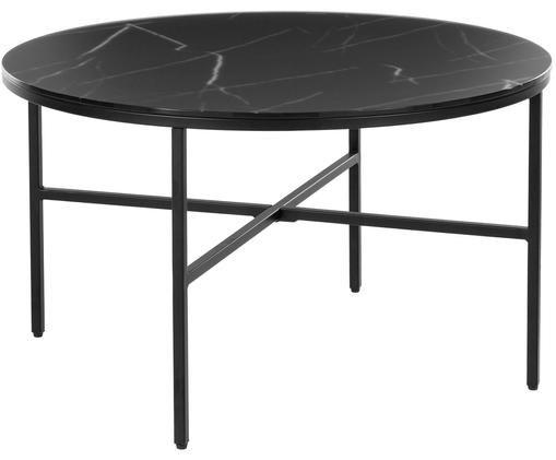 Mesa de centro Athena con tablero de vidrio, Negro grisaceo veteado, negro