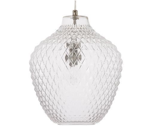 Pendelleuchte Lee aus Glas, Baldachin und Fassung: Chrom Lampenschirm: Transparent