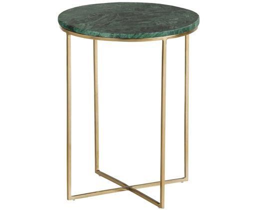 Ronde marmeren bijzettafel Alys, Tafelblad: groen marmer. Frame: goudkleurig, glanzend
