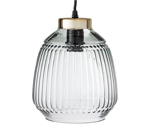 Lampa wisząca Loni, Klosz: zielony, transparentny  Oprawa: odcienie złotego
