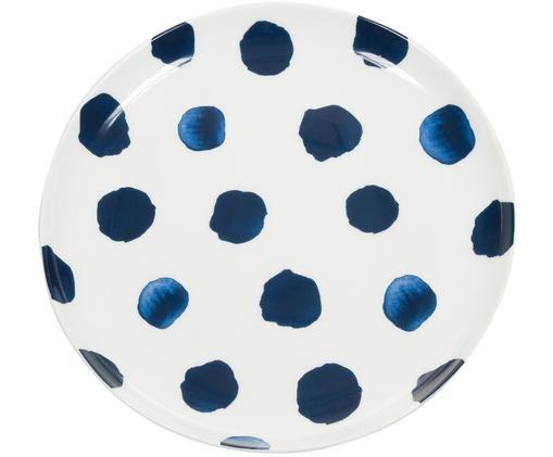 Piatto da colazione Dots, Blu,bianco