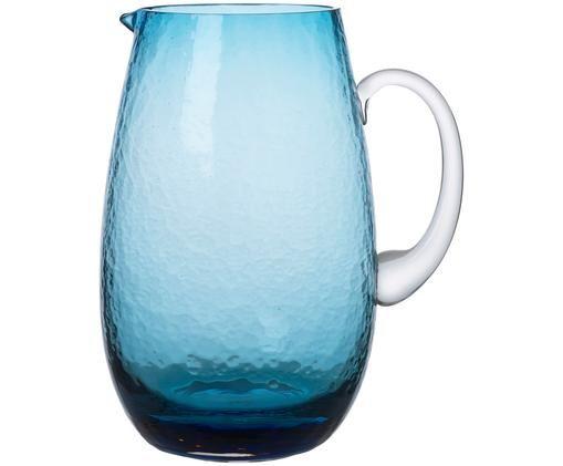 Brocca in vetro soffiato Hammered, Blu trasparente